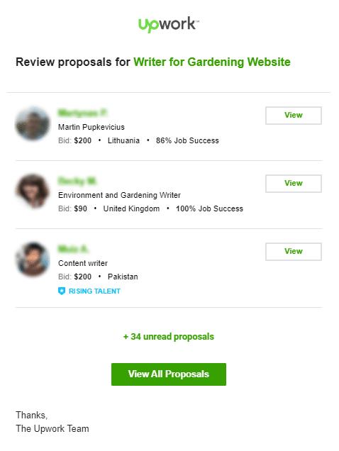 Upwork Proposals Email