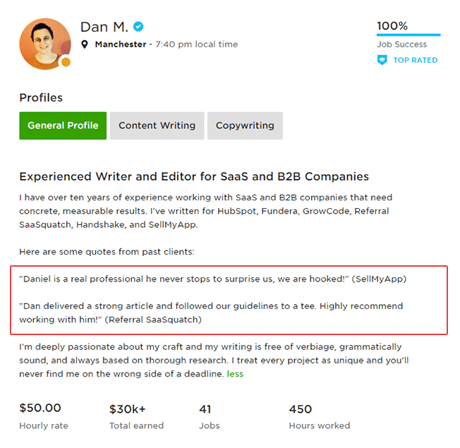 Upwork Profile With Testimonials